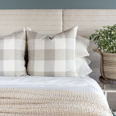 This cream and taupe buffalo check pillow is a casual and classic essential item. Made out of a high performance fabric, it is perfectly suited for both the high-traffic and laid-back nature of a lakeside cottage or coastal retreat. Buffalo Check Pillows, Lakeside Cottage, Large Sofa, Pillow Inserts, Sofas, Taupe, Bed Pillows, Coastal, Cream