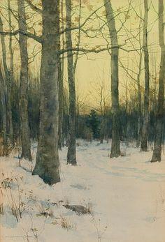 Early morning, winter, Charles Warren Eaton. American (1857 - 1937) - watercolor -
