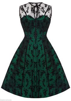 Voodoo Vixen Women New Vintage Flower Flocked Lace Net Party Prom Dress #VoodooVixen