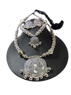 Oxidized Metal Navratri Jewellery Set Double Strand Necklaces and Necklace Sets on Shimply.com