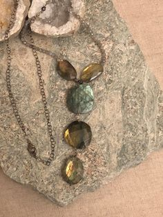 """One of a Kind Beautiful 24.5"""" Labradorite 5 Stone Pendant with Labradorite Beads and Sterling Silver Chain by SuzanneImagines on Etsy Rutilated Quartz, Labradorite, Oxidized Sterling Silver, Sterling Silver Chains, Teardrop Earrings, Stone Pendants, Green And Grey, Stones, Pendant Necklace"""