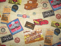 "Pixar Cars Radiator Springs 50"" X 40"" flannel fabric. $10.00, via Etsy."