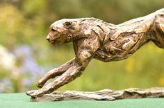 Bronze sculpture of cheetah running - sculpture named Speed Bronze Sculpture, Sculpture Art, Sculptures, South African Artists, Cheetah, Wildlife, Creatures, The Incredibles, Running
