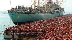 all these dots are albanians, the ship is vlora, the port is bari, and year is 1991, and reason? fall of communism