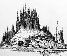 It's all islands and trees round these parts Super inspiring Landscape Drawings, Watercolor Landscape, Landscapes, Ink Pen Drawings, Cool Drawings, Ink Illustrations, Illustration Art, Fantasy Landscape, Fantasy Art