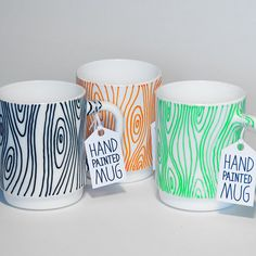 Wood Mug - Hand Painted Mug - hand drawn, hand painted, kitchen accessory, coffee mug, tea mug 18€