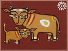Jamini Roy - Cow and calf - Art Prints Madhubani Art, Madhubani Painting, Indian Folk Art, Indian Artist, Indian Art Paintings, Animal Paintings, Small Canvas Prints, Cow Illustration, Illustrations