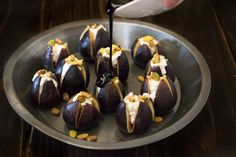 Figs make delicious desserts and snacks, but I'm using them as an appetizer in this dish. Warm figs with goat cheese, pistachios and balsamic glaze.
