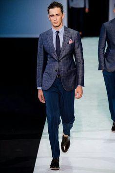 Giorgio Armani Spring 2014 Menswear Fashion Show Giorgio Armani, Armani Men, Fashion Gallery, Fashion Show, Mens Fashion, Milan Fashion, Fashion Suits, Plaid Fashion, Fashion Menswear