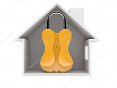 House cross section with padlock - Stock Photo , #affiliate, #section, #cross, #House, #Photo #AD 4th Of July Clipart, Cross Section, White Background Photo, Home Free, Birds In Flight, Clip Art, Stock Photos, House, Flying Birds