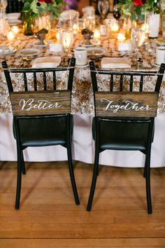 Bride and Groom Chair sign - better together - Vineyard Vintage Wedding by Jeannine Marie Photography - KnotsVilla