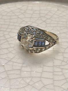 Art Deco sapphire baguette white gold round diamond engagement wedding ring