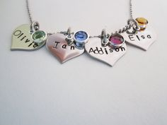 Hand stamped jewelry name pendants by ChristinesImpression on Etsy, $32.00