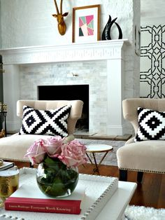 Fireplace Makeover || Before and After Reveal via Bliss at Home