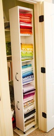Make a pull out Ikea Billy Bookcase with Handles to store fabric in a closet for your sewing room. If you're in need of craft storage ideas for your craft room then this list is exactly what you need to read!