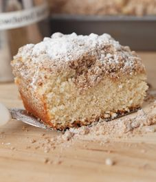 New York crumb cake recipe - we used a yellow cake mix, but made the crumbs from this recipe. they taste great! Just Desserts, Delicious Desserts, Yummy Food, New York Crumb Cake Recipe, Yummy Treats, Sweet Treats, Cake Recipes, Dessert Recipes, Brunch