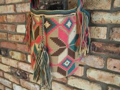 Handmade Large Multi-Colored Wayuu Mochila from Colombia (H050) on Etsy, $150.00