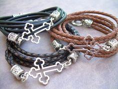 Braided Leather Bracelet Cross Bracelet by UrbanSurvivalGearUSA, $25.99