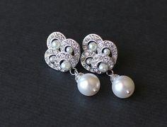 Art Deco perle boucles d'oreilles mariées Pearl et par JamJewels1