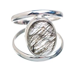 Ana Silver Co Tourmalinated Quartz Ring Size 7.25 (925 Sterling Silver) - Handmade Jewelry RING878191 #handmadejewelry