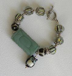 Jade Focal Stone Handmade Beaded Bracelet by bdzzledbeadedjewelry, $35.00