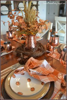 Corner of Plaid and Paisley: Fall Copper Leaves Tablescape and Hop Fall Table Settings, Beautiful Table Settings, Place Settings, Fall Kitchen Decor, Fall Home Decor, Thanksgiving Tablescapes, Happy Thanksgiving, Copper Decor, Autumn Decorating