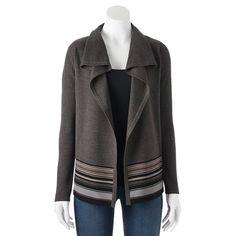 Croft & Barrow® Striped Open-Front Cardigan - Women's