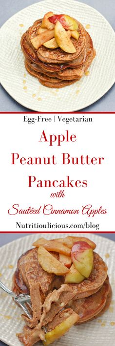 Take your favorite snack duo to breakfast or brunch with these apple peanut butter pancakes topped with sautéed cinnamon apples. Get the egg-free, vegetarian recipe @jlevinsonrd.