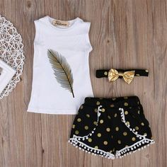 Girl Kid Toddler Clothes T-Shirt Vest Tops+Pants Shorts Headband Outfit Set Kids Outfits Girls, Toddler Outfits, Girl Outfits, Kids Girls, Baby Girls, Baby Boy, Toddler Girls, Girls Vest Tops, Shirts For Girls