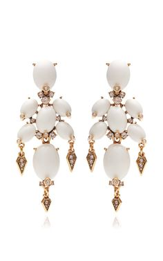 designer:Oscar de la Renta details here:Oscar de la Renta Cabochon Stone and Crystal Earrings in Ivory Ivory