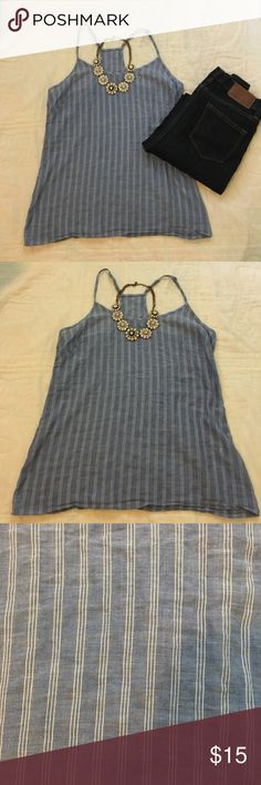 Jcrew tank top Great layering piece ! Blue with white pinstripe! OPEN TO BEST OFFER ‼️‼️ J. Crew Tops Tank Tops