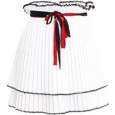 Akep Plissa Mini Skirt (€105) ❤ liked on Polyvore featuring skirts, mini skirts, bottoms, short white skirt, high waisted pleated skirt, high-waist skirt, short skirts and mini skirt