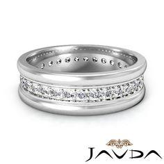Pave Round Diamond Solid Ring 18K White Gold Mens Eternity Wedding Band 0 60ct | eBay
