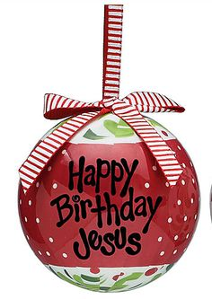 Christmas Ornaments Happy Birthday Jesus | ... :: Christmas Ornaments :: Happy Birthday Jesus Plastic Ornament Red
