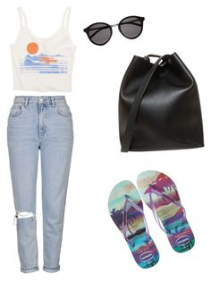 """Untitled #2039"" by ncmilliebear ❤ liked on Polyvore featuring Topshop, Billabong, Yves Saint Laurent, 3.1 Phillip Lim and Havaianas"