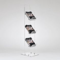 Magazine Display Stand - 3 or 4 tiers for magazine or brochure displays from Luminati - branding options available Brochure Stand, Brochure Display, Magazine Display, Magazine Stand, Popular Magazine, Reception Areas, Clear Acrylic, Display Stands, Design