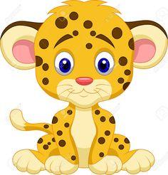 Bebé Leopardo De Dibujos Animados Ilustraciones Vectoriales, Clip ...
