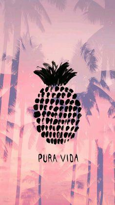 Fondo de piña y sombra de palmeras, color: rosa, morado y negro.