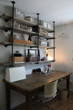rustic office pipe shelf - Google Search