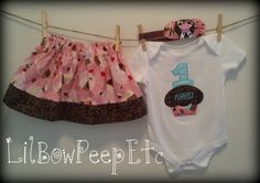 Cupcake Birthday outfit w/ matching headband by lilbowpeepetc, $39.95