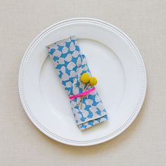 party plating - use dumdums and paper bag with string on different styles of plates