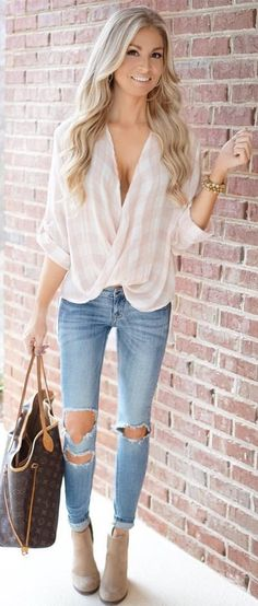 Checked Blouse / Destroyed Bleached Denim / Beige Booties