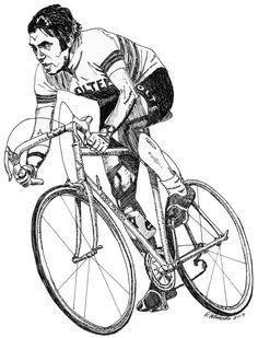 Cycling Print - Eddy Merckx, Belgian Cyclist - Drawing by Rachel Petruccillo