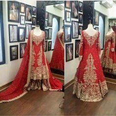 Beutifull bridal lahnga in red golden color Model# B 907 – Nameera by Farooq Pakistani Wedding Outfits, Bridal Outfits, Pakistani Dresses, Indian Dresses, Indian Suits, Bridal Mehndi Dresses, Beautiful Bridal Dresses, Bridal Gowns, Beautiful Outfits