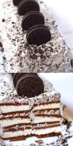 The easiest Oreo ice cream cake ever! SO amazing there are never any leftovers! The easiest Oreo ice cream cake ever! SO amazing there are never any leftovers! Oreo Desserts, Ice Cream Desserts, Frozen Desserts, Ice Cream Recipes, Easy Desserts, Delicious Desserts, Ice Cream Cake Roll, Diy Ice Cream Cake, Oreo Dessert Recipes