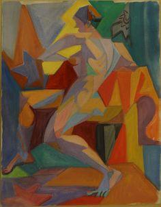 André Lhote – 'Composition cubiste au modèle asiss', Gouache sur papier, 31x23 cm
