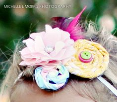 fabric flowers and feathers!