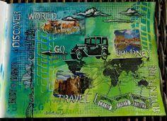 "18.2.2016 Playful art journal page 1 - travel theme. (Seawhite journal 25x19 cm / 10""x7.5"") http://romanassunnycreation.blogspot.ch"