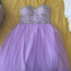 Non-prom season SALE (limited time) Gorgeous lavender prom dress, rhinestoned top and flowy tulle bottom (only worn once) Jodi Kristopher Dresses Prom