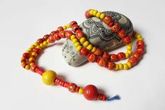 Bohemian Statement Necklace, Hand made Beaded Beach Necklace, Yoga Boho Long Necklace, Wooden Red yellow Necklace Hippie Gypsy OOAK Necklace by DHANAjewelry on Etsy